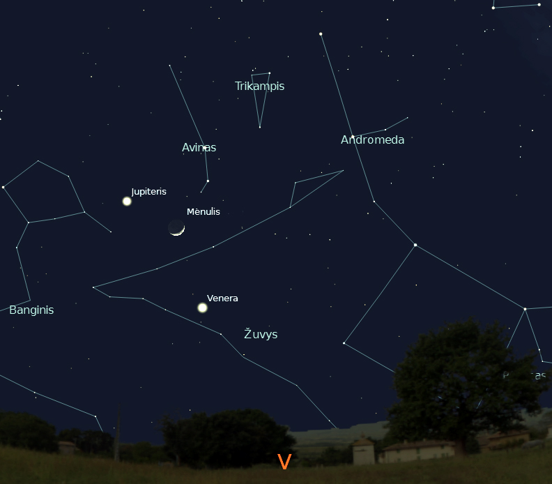 """Veneros, Jupiterio ir Mėnulio susitikimas, vasario 26 d., 20 val.,  """"Stellarium"""" nuotr."""