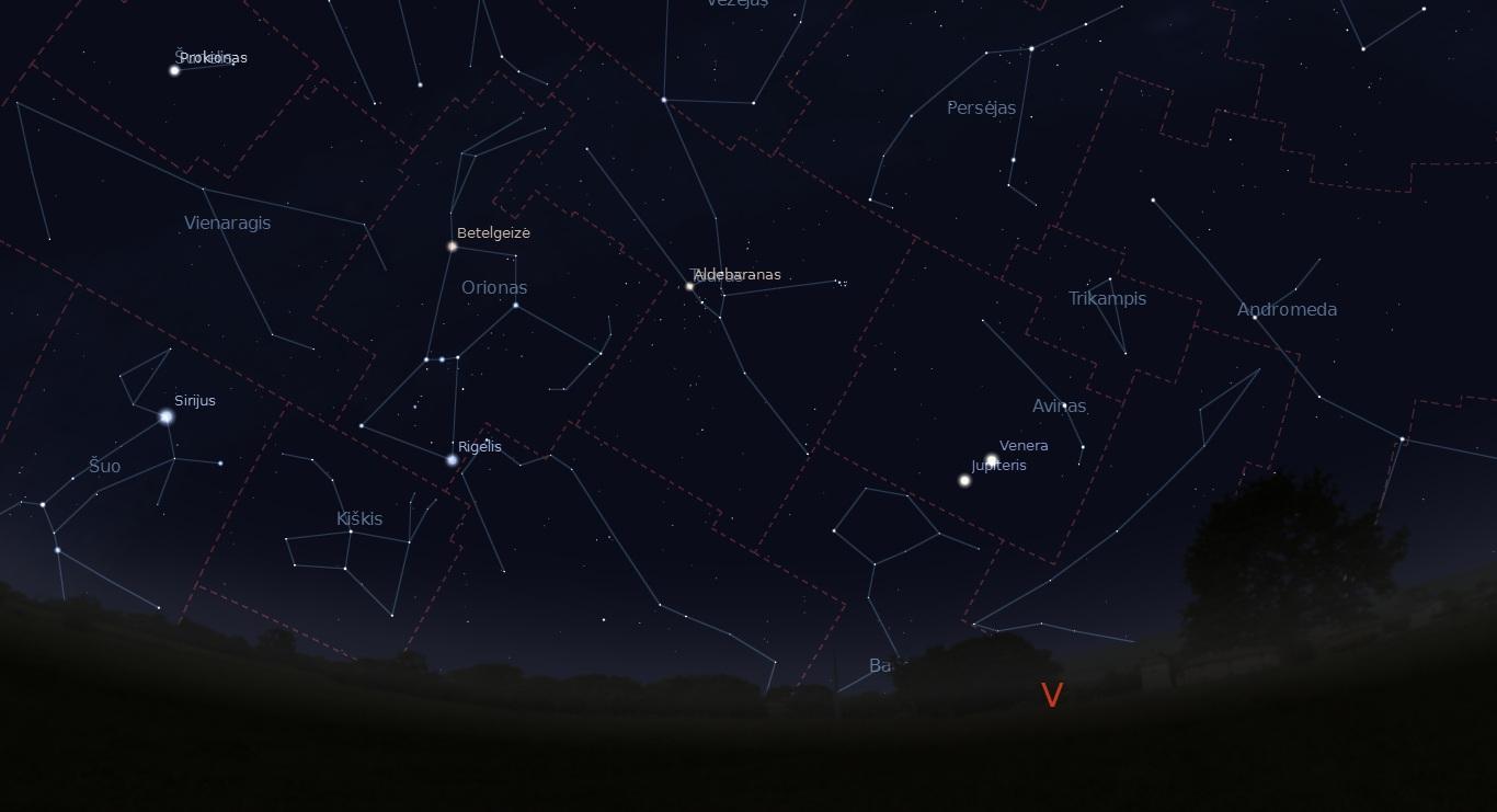 """Jupiteris ir Venera kovo 12-15 dienomis bus matomi arti vienas kito. """"Stellarium"""" nuotr."""