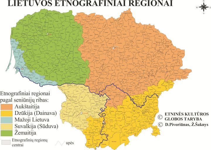 Lietuvos etnografinių regionų žemėlapis