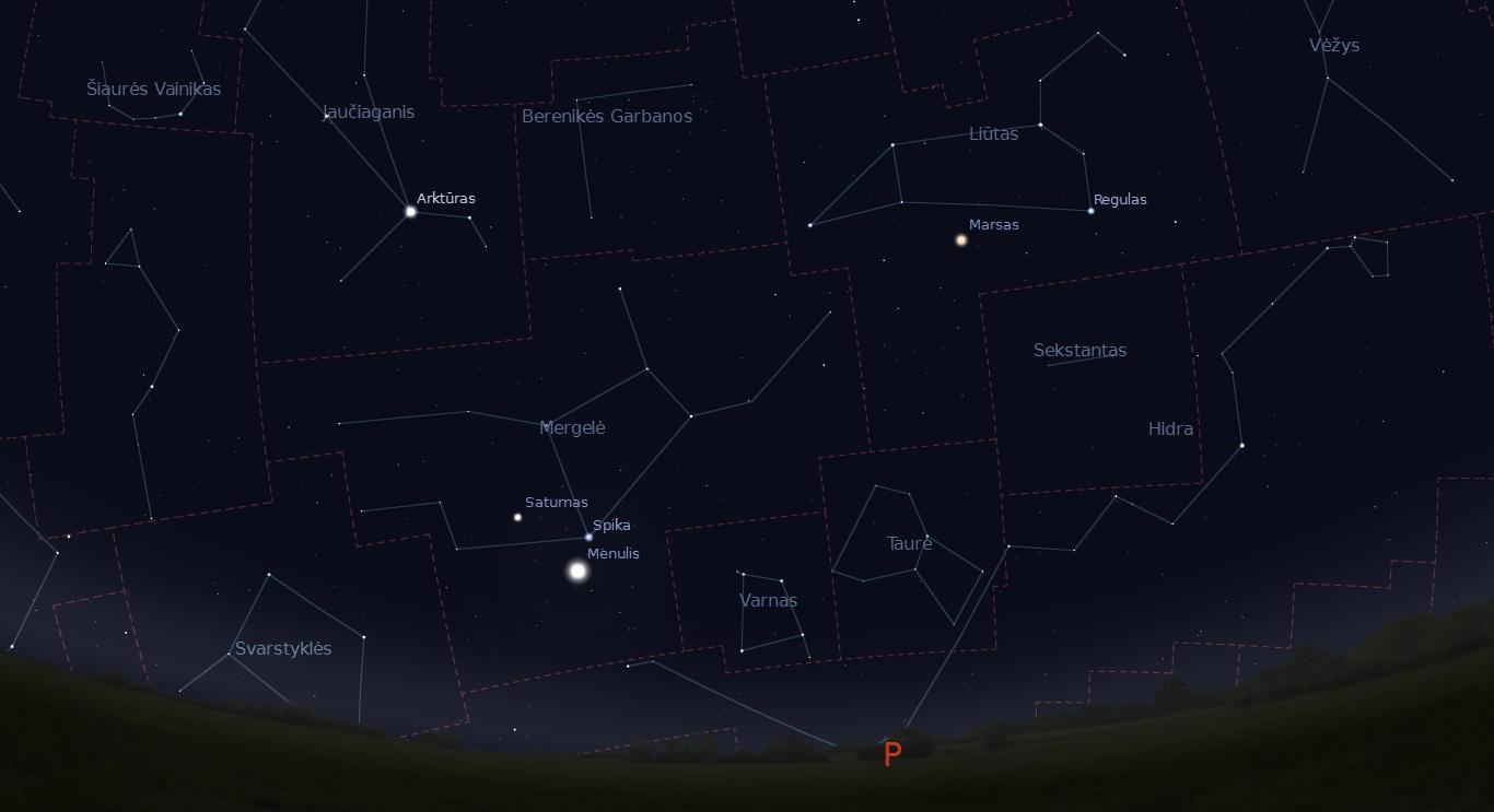 """Kovo 11 dieną šalia Saturno ir Spikos atsidurs Mėnulis. """"Stellarium"""" nuotr."""
