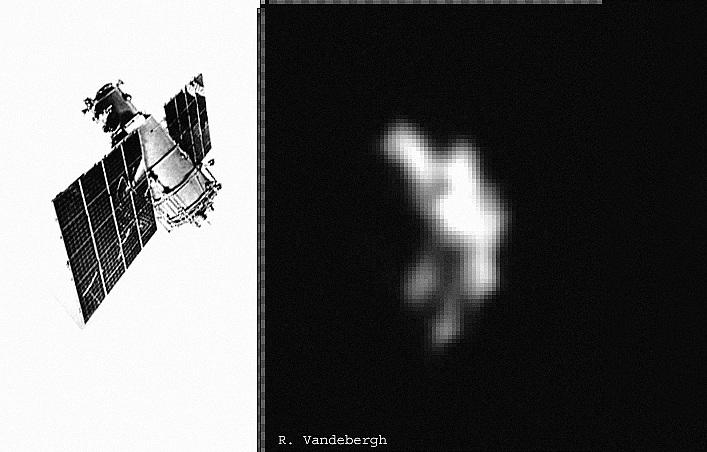 """""""Meteor-1"""" (kairėje) paskutinį kartą nufotografuotas (dešinėje) Belgijos astronomo mėgėjo Ralfo Vandebergh"""