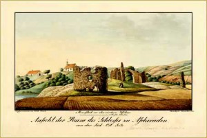 Aizkrauklės pilies griuvėsiai apie 1830 m. Iš Filipo Paulučio (Philip Paulucci) albumo