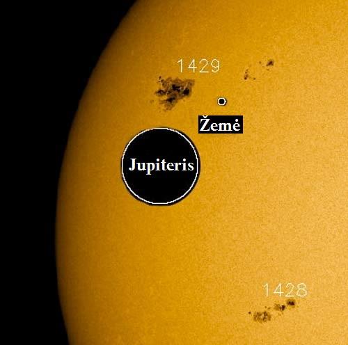 Saulės dėmių grupė iš kurios buvo išsviestas pliūpsnis. Pateikta Žemės ir Jupiterio sąlyginiai dydžiai. SDO (NASA) nuotr.