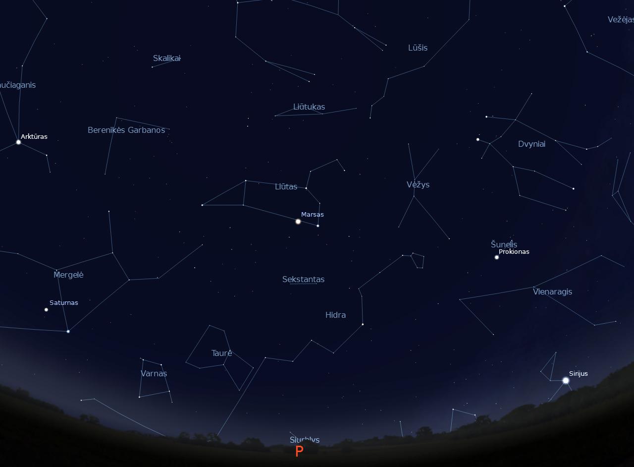 """1 pav. Pietinė dangaus pusė balandžio vakarais (""""Stellarium"""" nuotr.)."""