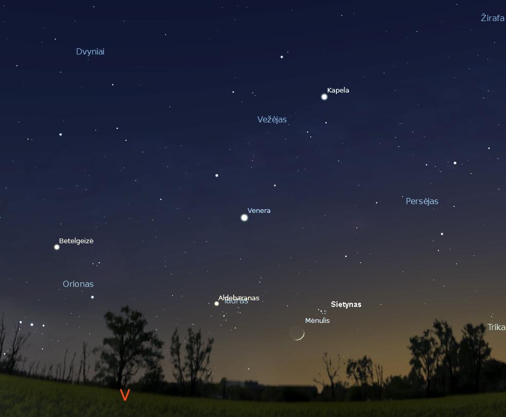 """2 pav. Sietyno nusileidimas vakaro žarose balandžio 23 d., 21.50 val. (""""Stellarium"""" nuotr.)."""