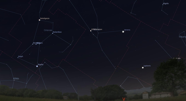 """Venera (Vakarinė) balandžio 2–4 dienos vakarais matoma šalia Plejadų (Sietyno). """"Stellarium"""" nuotr."""