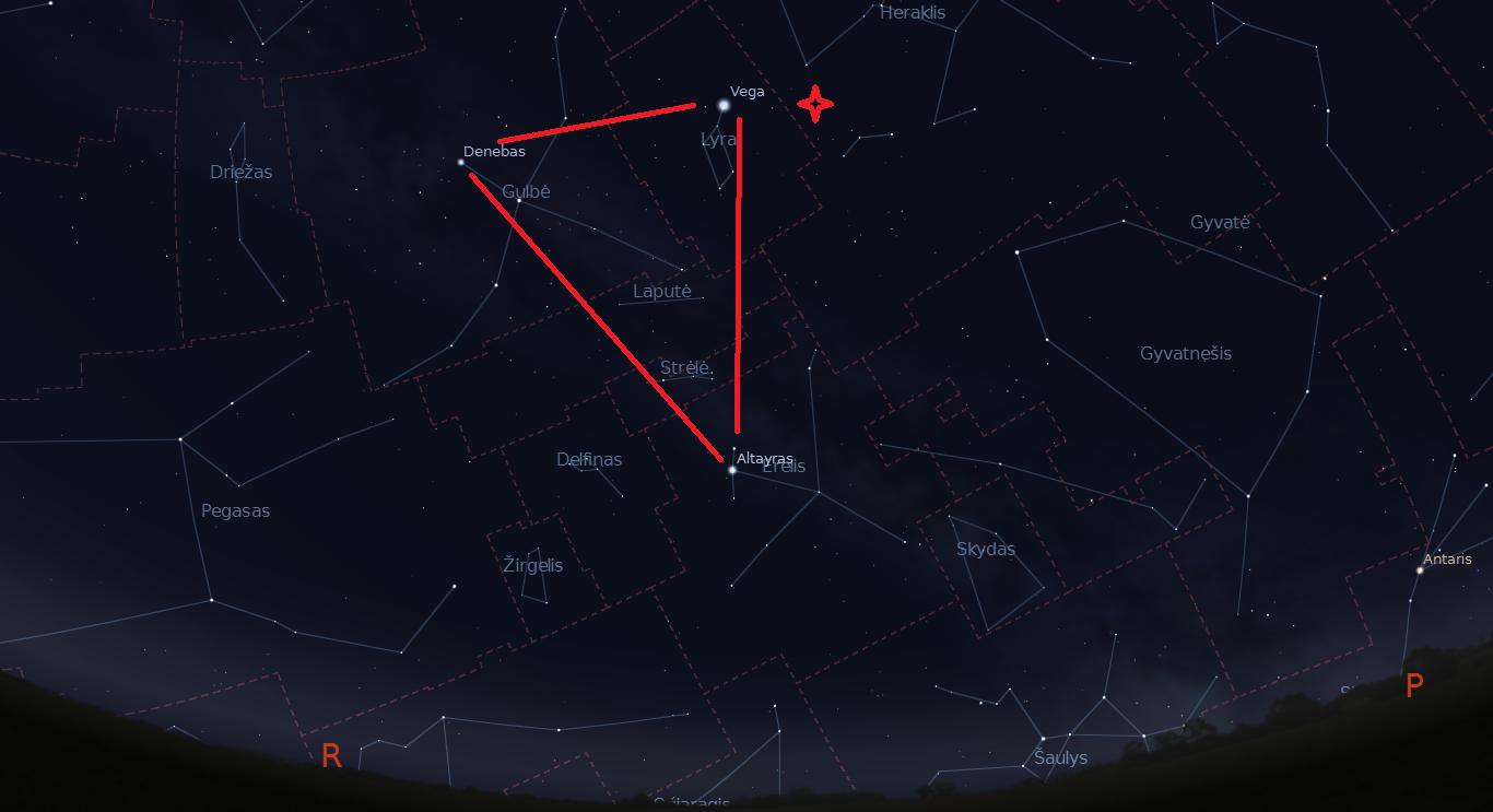 """Didysis Vasaros Trikampis balandžio 22 naktį, 3 val. Žvaigždute pažymėtas Lyridų radianas. """"Stellarium"""" nuotr."""