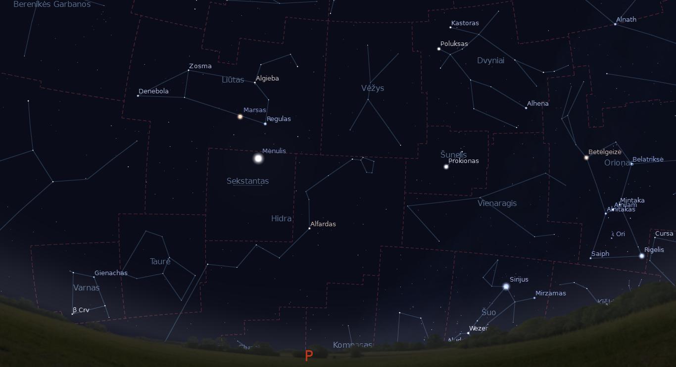 """Šalia Marso ir Regulo balandžio 4 naktį pralėks Mėnulis. """"Stellarium"""" nuotr."""
