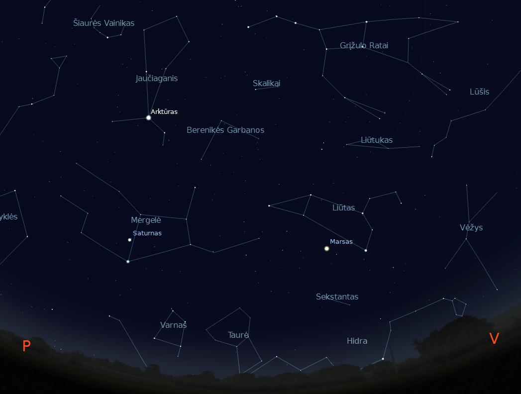 1 pav. Žvaigždėta gegužės vidurnakčio pietvakarių padangė |autoriaus Stellarium simuliac.