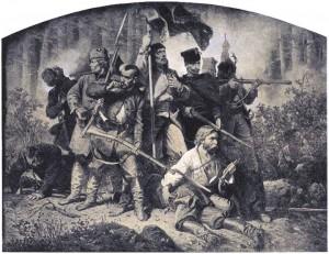 1863 m. sukilimo mūšis. Dail. Arturas Grotgeris