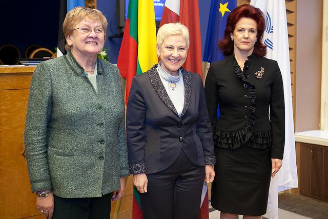 Seimo Pirmininkė Irena Degutienė kartu su Estijos Respublikos Riigikogo Pirmininke Ene Ergma ir Latvijos Respublikos Saeimos Pirmininke Solvita Aboltina | Nuotr. Ernests Dinka