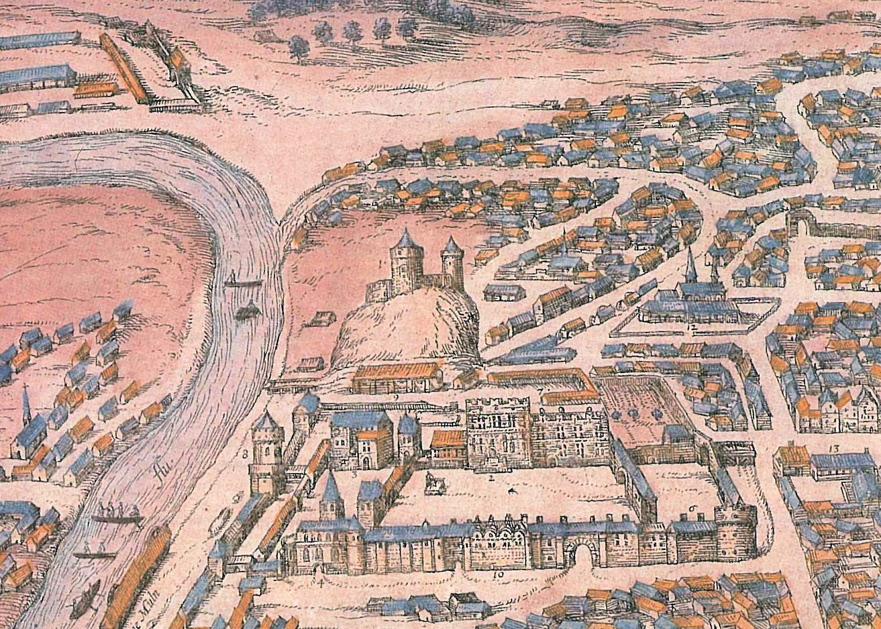 G. Brauno F.Hogenbergo Vilniaus miesto plano fragmentas 1571m.   V.Drėma. Dingęs Vilnius, p.30 1991m.