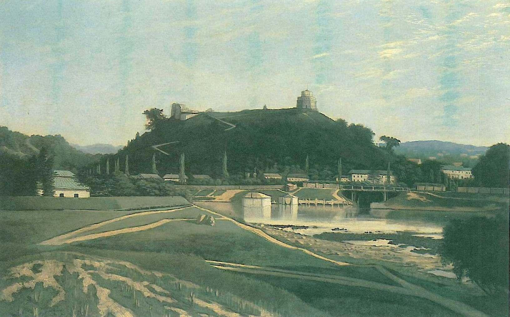 J.Marševskis. Vilniaus pilių vaizdas iš šiaurės 1861m.   V.Drėma. Dingęs Vilnius, p.94 1991m.