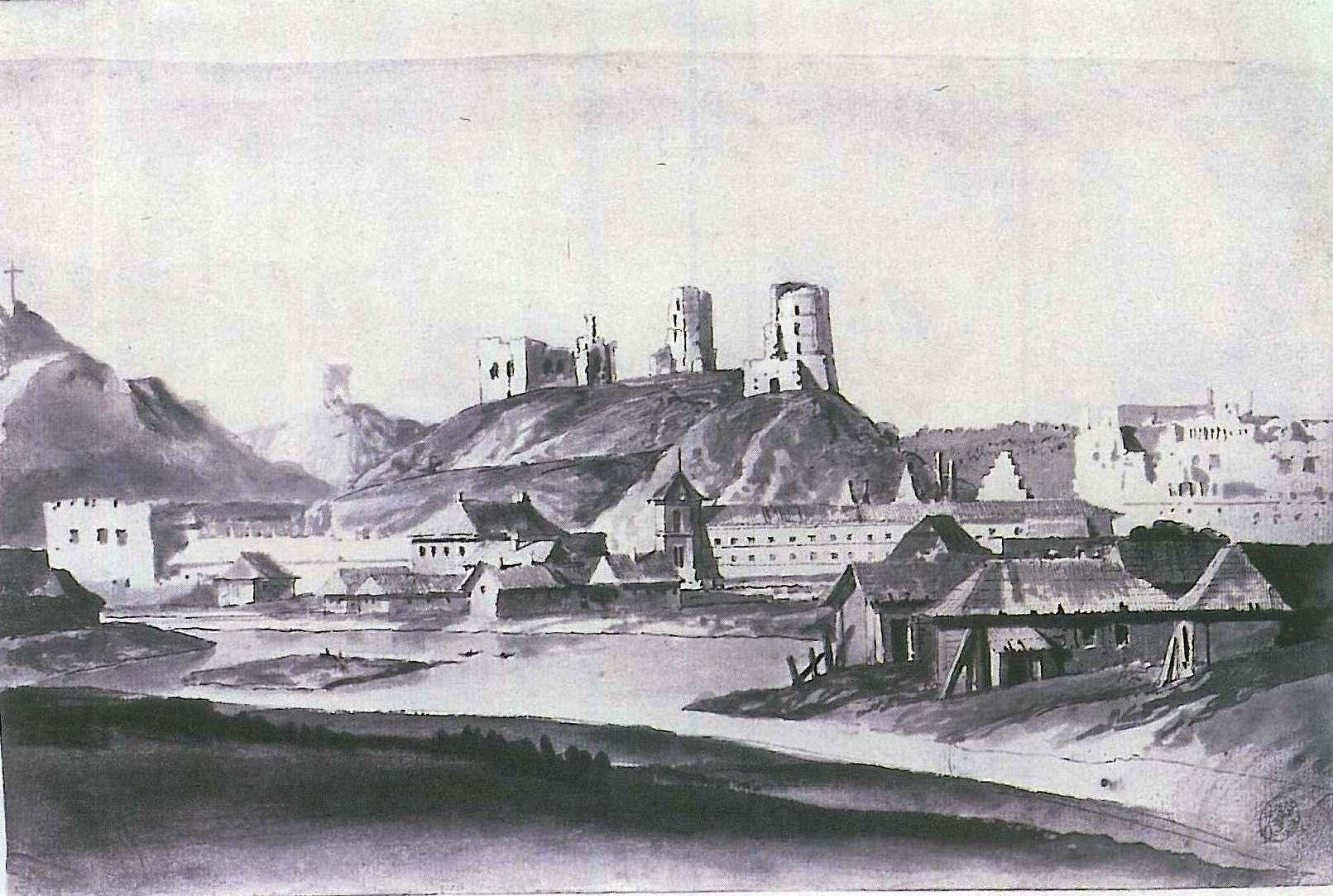P. Smuglevičius. Vilniaus pilys iš šiaurės pusės. 1785 m. | V.Drėma. Dingęs Vilnius, p.85 1991m.
