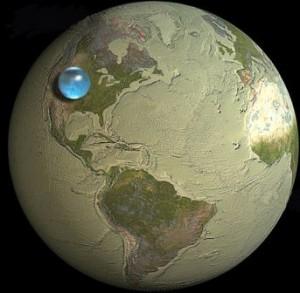 Jei visą Žemės vandenį surinktume į vieną burbulą... USGS nuotr.