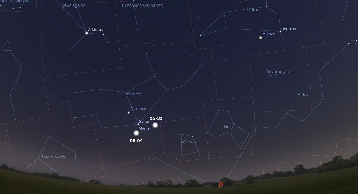 """Mėnulis šalia Saturno ir Spikos gegužės mėnesį. """"Stellarium"""" nuotr."""