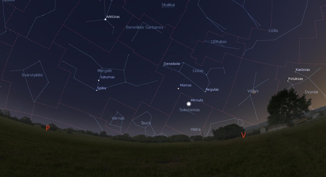 """Gegužės 28 dieną Mėnulis Saturnas ir Regulas danguje sudarys trikampį. """"Stellarium"""" nuotr."""