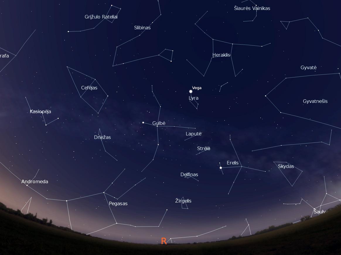 1 Pav. Rytinė dangaus pusė birželio vidurnaktį
