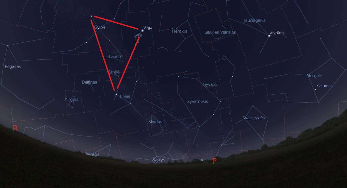 """Dangus trumpiausios nakties vidurnaktį. Raudonai pažymėtas Didysis Vasaros Trikampis. """"Stellarium"""" vizualizacija"""
