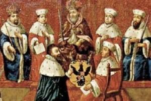 Šventosios Romos imperijos kunigaikščio titulo suteikimas Mikalojui Radvilai Juodajam 1547 m.| Ldm.lt iliustr.