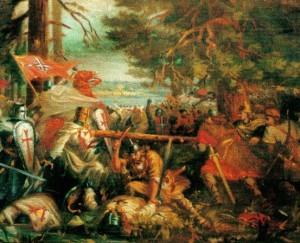 Durbės mūšis 1260 m. Dail. V.Norkuaus pav. fragmentas