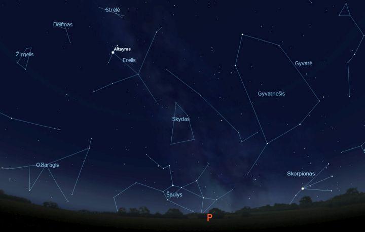 """Zodiakiniai Ožiaragio, Šaulio, Skorpiono žvaigždynai virš pietinio horizonto liepos 15 d. vidurnaktį (piešinys atliktas """"Stellarium"""" programa)."""