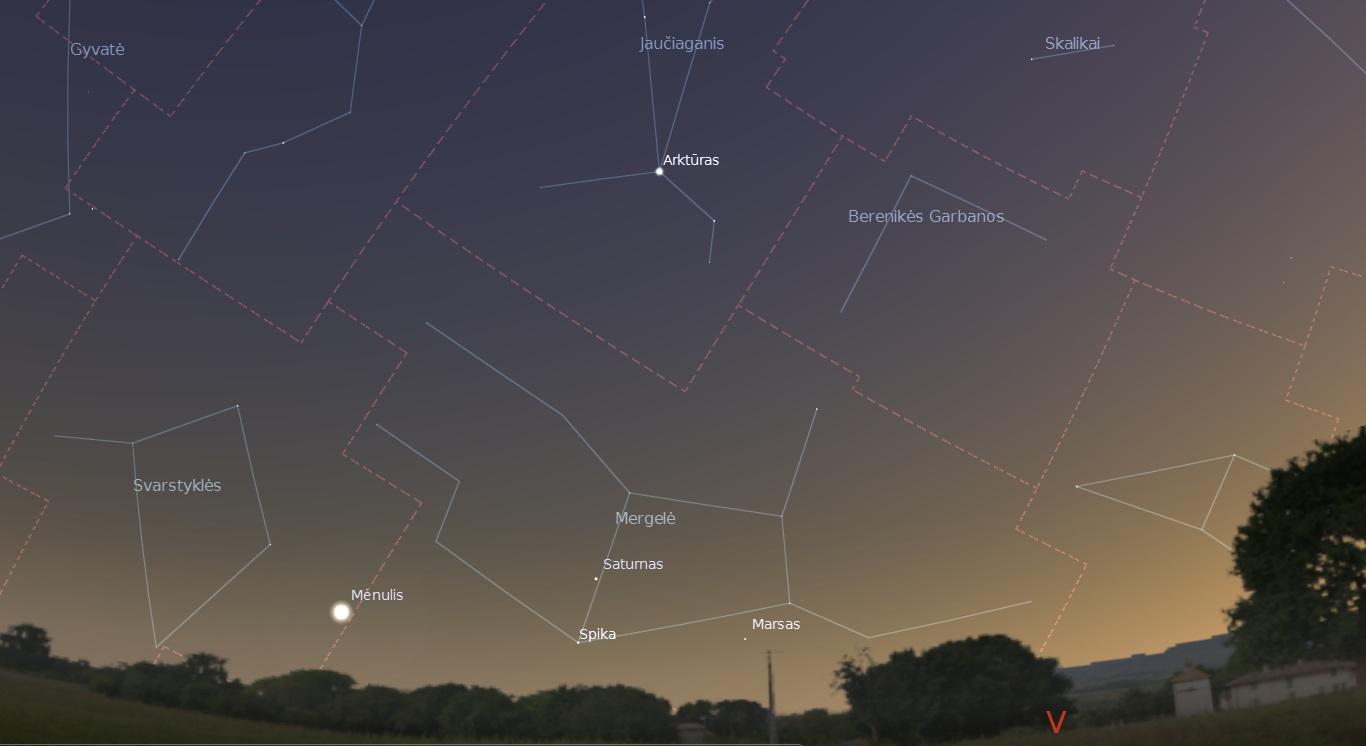"""Dangus liepos 26 d. vakarą po saulėlydžio. """"Stellarium"""" nuotr."""