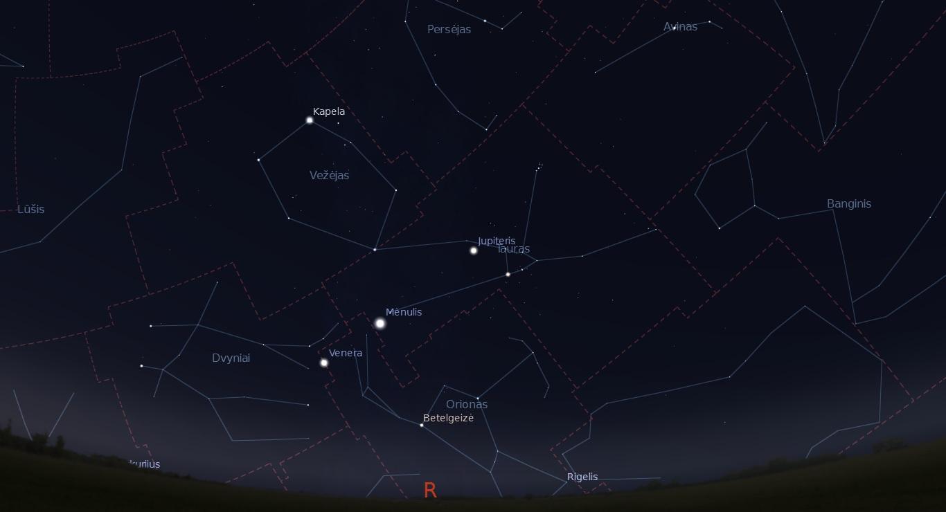 """Dangus rugpjūčio 13 d. paryčiais. """"Stellarium"""" pav."""
