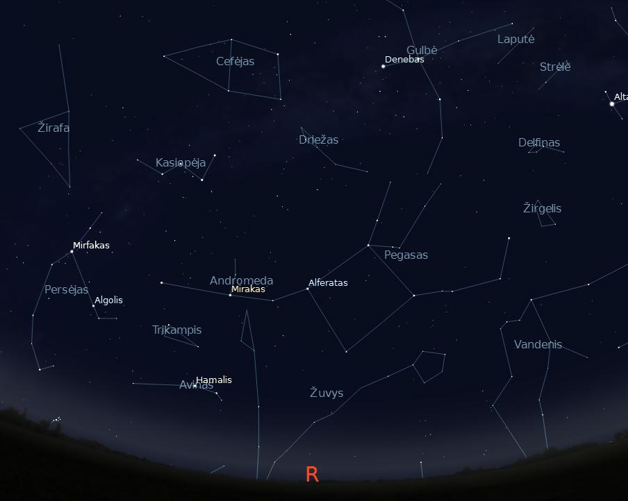 """Rytinė dangaus pusė rugpjūčio 15 d. 23 val. (piešinys sukurtas """"Stellarium"""" programa)."""