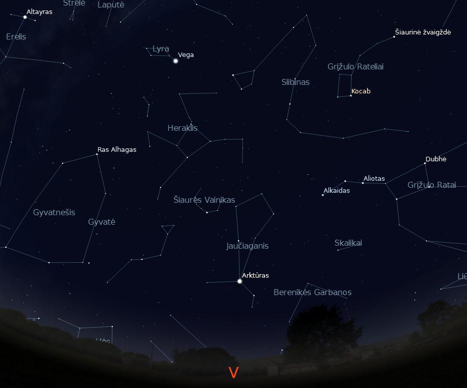"""Vakarinė dangaus pusė rugpjūčio 15 d. 23 val. (piešinys sukurtas """"Stellarium"""" programa)."""