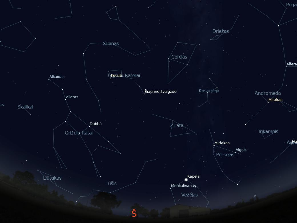"""Šiaurinė dangaus pusė rugpjūčio 15 d. 23 val. (piešinys sukurtas """"Stellarium"""" programa)."""
