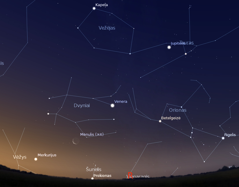 """Mėnulis tarp Veneros ir Merkurijaus rugpjūčio 15 d. paryčiais 4.45 val. (piešinys sukurtas """"Stellarium"""" programa)."""