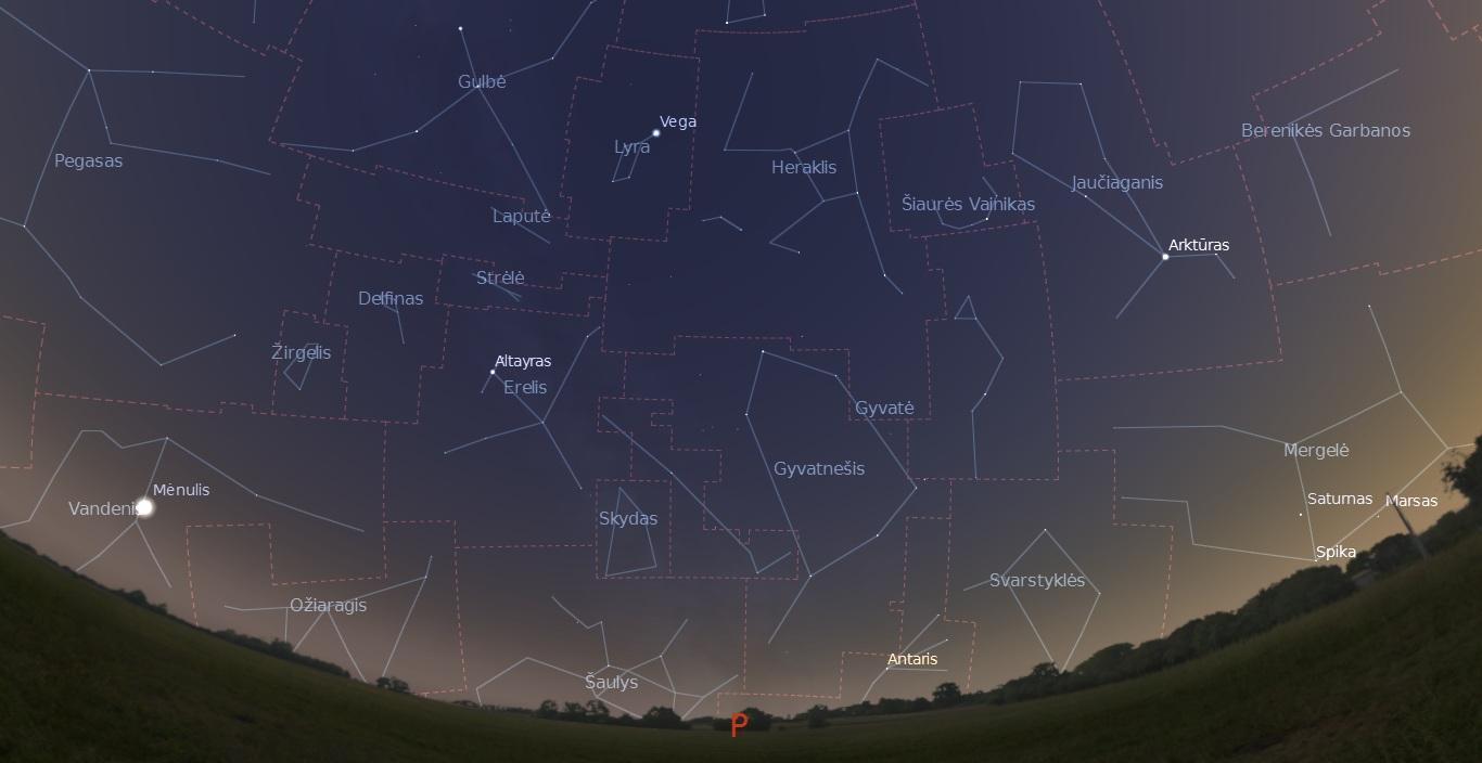 """Dangus Saulei nusileidus mėnesio pirmąją dekadą. """"Stellarium"""" pav."""