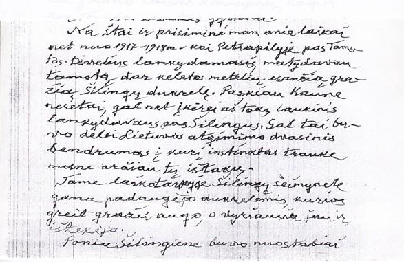 K.Šimonio ranka rašytas laiškas