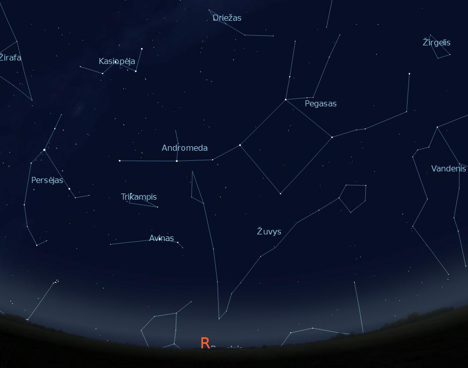 """Rytinė dangaus pusė rugsėjo 15 d. 22 val. (piešinys sukurtas """"Stellarium"""" programa)."""