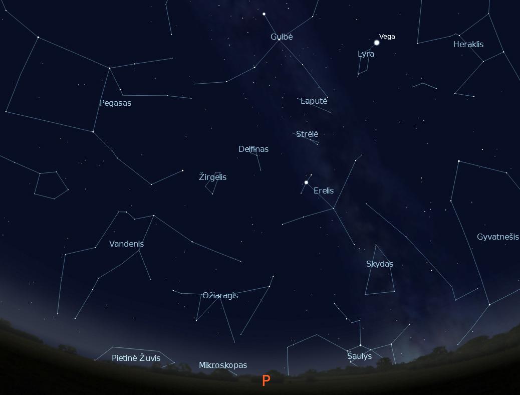 """Pietinė dangaus pusė rugsėjo 15 d. 22 val. (piešinys sukurtas """"Stellarium"""" programa)."""