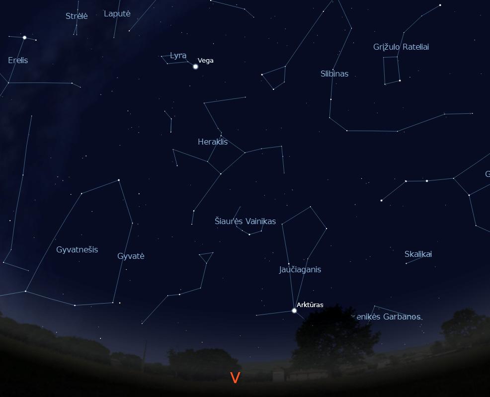 """Vakarinė dangaus pusė rugsėjo 15 d. 22 val. (piešinys sukurtas """"Stellarium"""" programa)."""