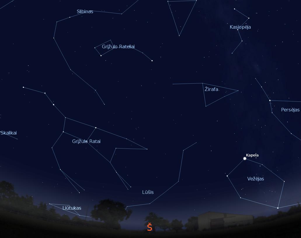 """Šiaurinė dangaus pusė rugsėjo 15 d. 22 val. (piešinys sukurtas """"Stellarium"""" programa)."""