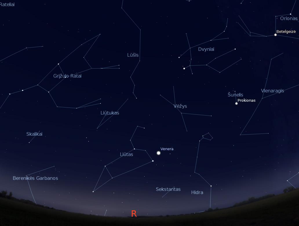 """Aušrinės ir Regulo suartėjimas rugsejo 30 d. paryčiais 6 val. (piešinys sukurtas """"Stellarium"""" programa)."""
