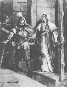 Traidenis ir Ona Mazovietė (1282). Dail. Michał Elwiro Andriolli (1836-1893)
