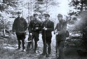 Sergijus Staniškis-Litas, Juozas Lukša-Skirmantas, Vitas Garmus-Pavasaris ir Vincas Daunoras-Ungurys. Apie 1951 m. | genocid.lt nuotr.