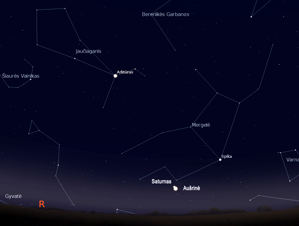 """Saturnas ir Aušrine lapkričio 27d. 6val. (piešiniai sukurti """"Stellarium"""" programa) © J. Vaiškūno pieš."""