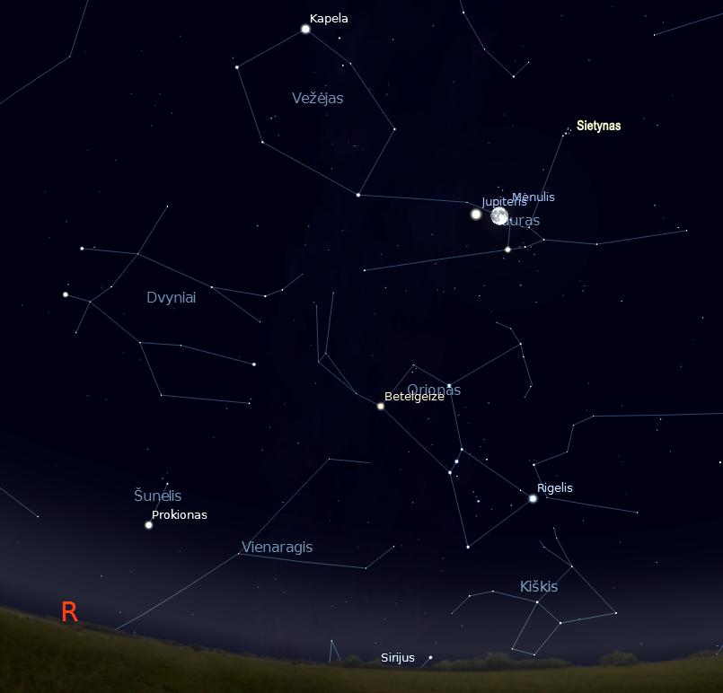 """Mėnulio ir Jupiterio suartėjimas lapkričio 28 d.22 val (piešiniai sukurti """"Stellarium"""" programa) © J. Vaiškūno pieš."""