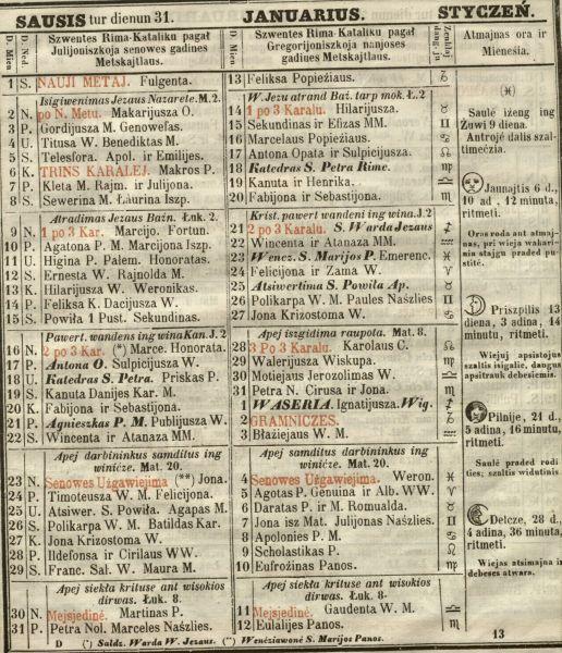 L.Ivinskio kalendorius | lnb.lt nuotr.