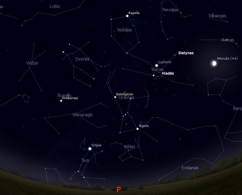"""Pietinė Kūčių ir Kalėdų dangaus pusė vidurnaktį 24 val. (piešinys sukurtas """"Stellarium"""" programa) © J. Vaiškūno pieš."""