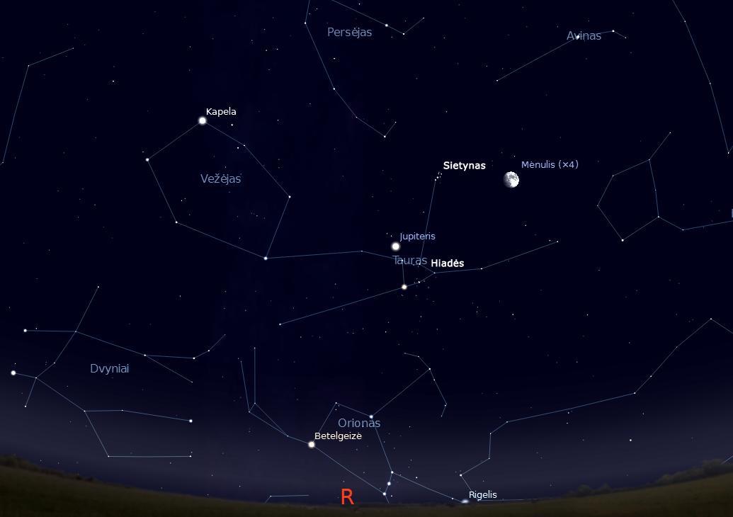 """Rytinė Kūčių vakaro dangaus pusė 17 val. (piešinys sukurtas """"Stellarium"""" programa) © J. Vaiškūno pieš."""