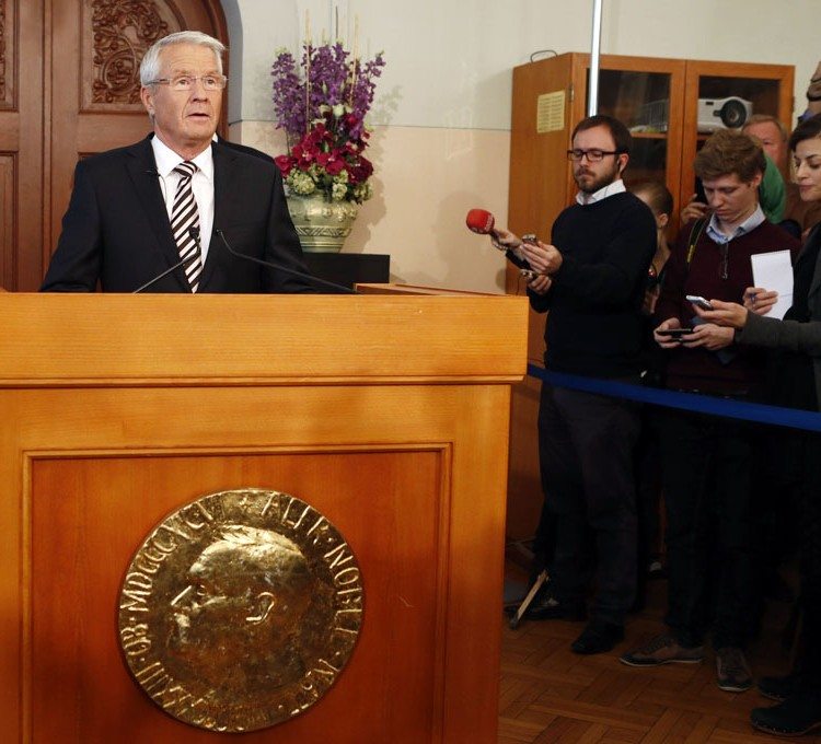 Nobelio premijos skyrimo komisijos pirmininkas Torbjornas Jaglandas paskelbė apie premijos skyrimą ES | www.europarl.europa.eu nuotr.