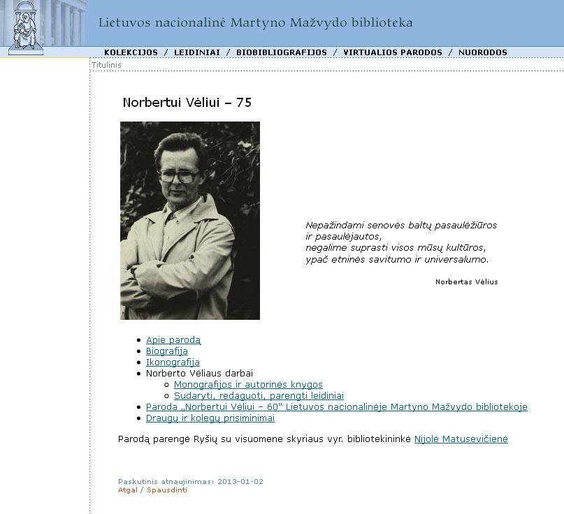 Virtuali paroda Norbertui Vėliui - 75
