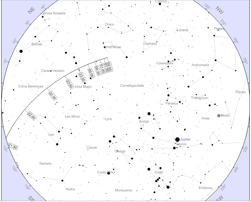 Asteroido 2012DA14 kelias Lietuvos dangumi vasario 15–16 d. | heavens-above.com pav.