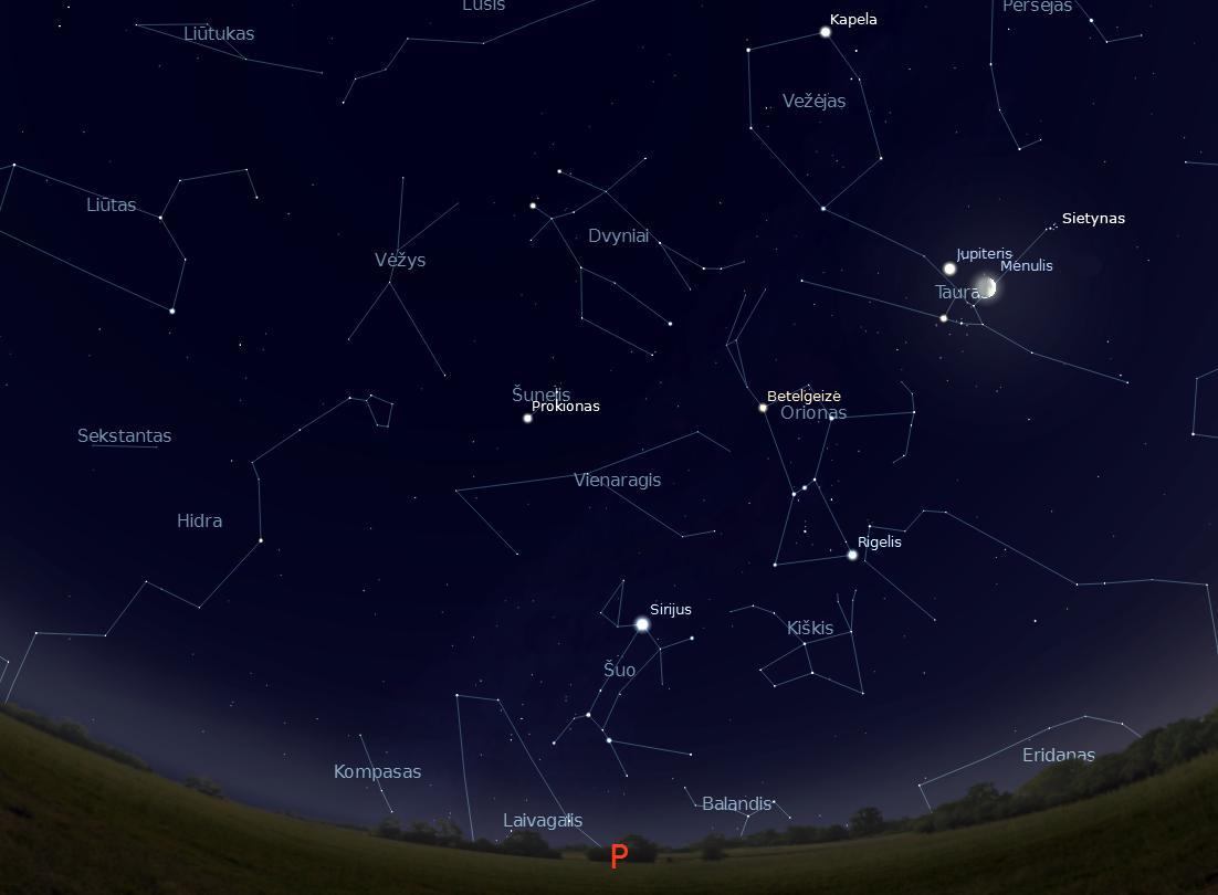 """Pietinė žvaigždėto dangaus pusė, kovo 17 d. 21val. (piešinys sukurtas """"Stellarium"""" programa) © J. Vaiškūno pieš."""